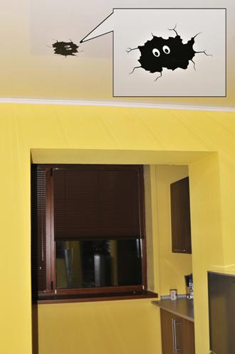 наклейки на потолок, убрать трещину на потолке, декор потолка, трещина на потолке