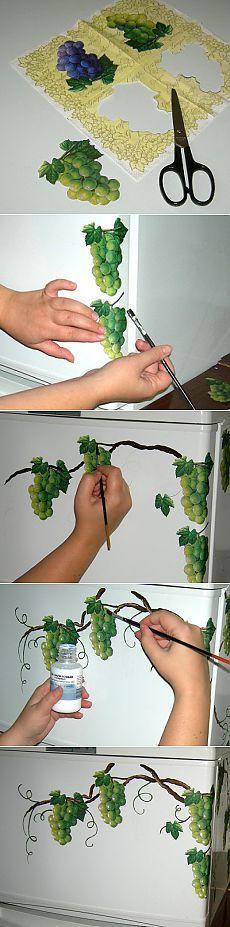 декупаж холодильника фото