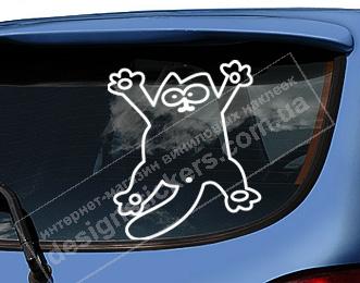 наклейки на авто, прикольные наклейки на авто, наклейка кот, наклейка кот на машину