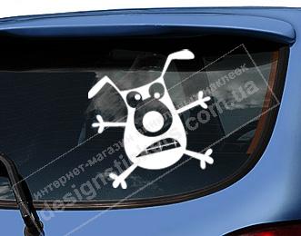 прикольная наклейка на автомобиль, прикольная наклейка пес, прикольная наклейка на стекло автомобиля. прикольная наклейка на авто