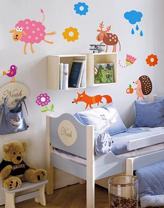 веселые звери наклейка для детской комнаты фото
