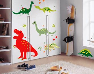 интерьерные наклейки DesignStickers, наклейка на шкаф динозавры, наклейки на мебель, виниловые наклейки на мебель