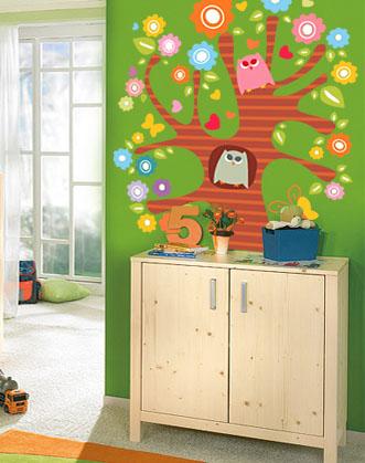 интерьерные наклейки, наклейки в детскую, дерево виниловая наклейка, яркое дерево наклейка, дерево наклейка на стену