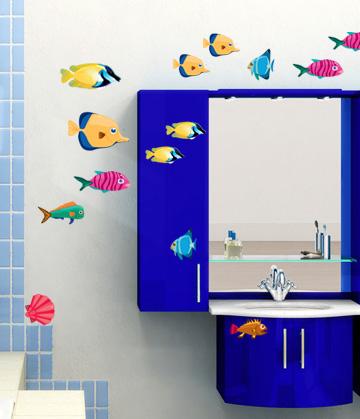 наклейки для ванной комнаты, наклейки в ванную,  наклейки на мебель, DesignStickers, наклейки рыбки