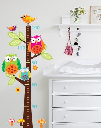 фото детский ростомер, ростомер-наклейка фото, ростомер с совами фото, фото лесной ростомер -наклейка с совой
