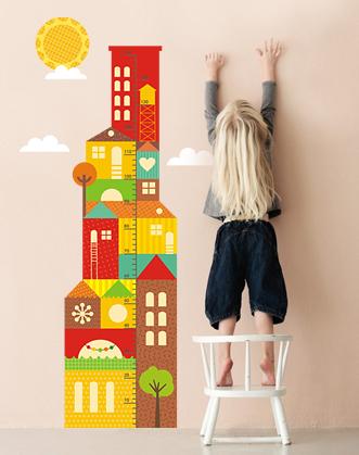 апликация на стену в детскую ростомер город