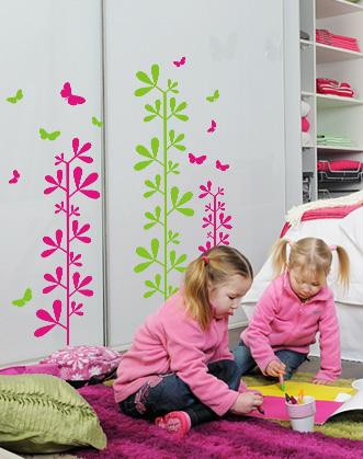 интерьерные наклейки DesignStickers, наклейки в мебель, наклейка на мебель, трава и бабочки, наклейка на шкаф