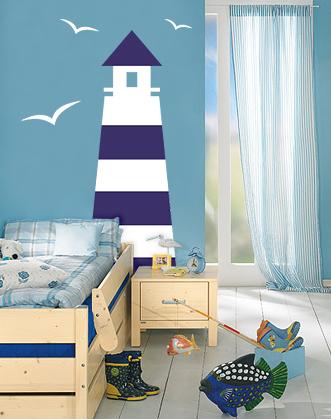 фото наклейка маяк с чайками в комнату мальчика