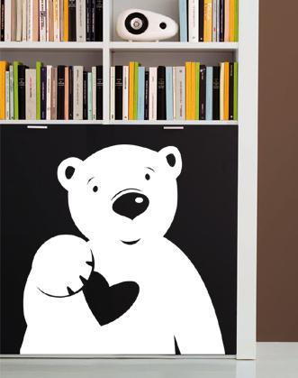 подарок младенцу, подарок маленькому ребенку, подарок ребенку до года, наклейка медведь, наклейка мишка с сердцем