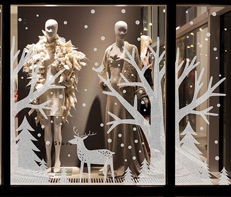 декор витрины новогодний фото, украшение витрины к новому году, дизайн стикерс витрина фото, DesignStickers украшение витрины фото