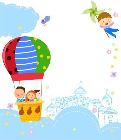 """фото наклейка для оформления стены в детском саду """"На воздушном шаре"""""""