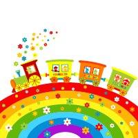 фото наклейка для оформления группы детского сада паровоз на радуге