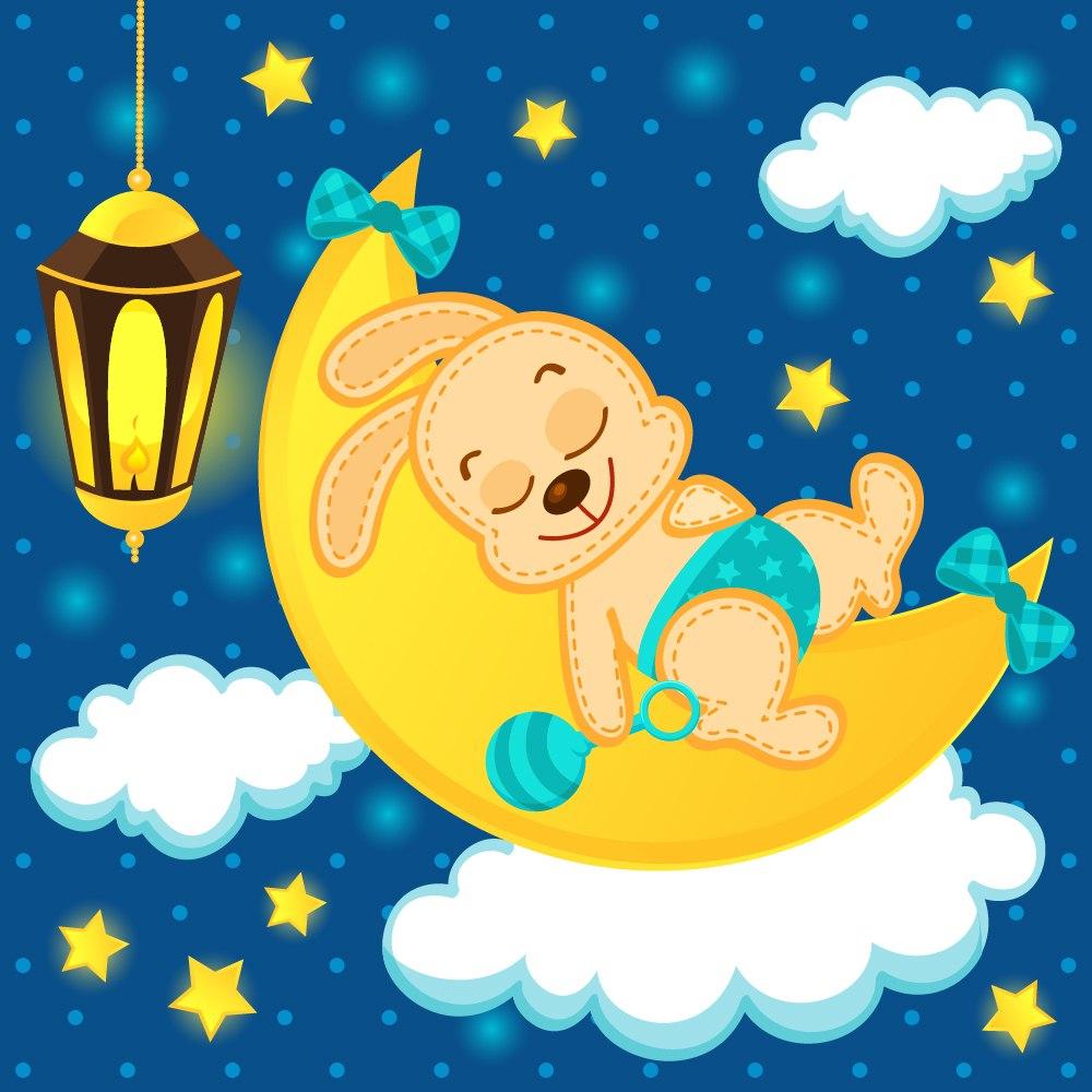 фотография наклейки для оформления спальни в детском саду зайка на луне
