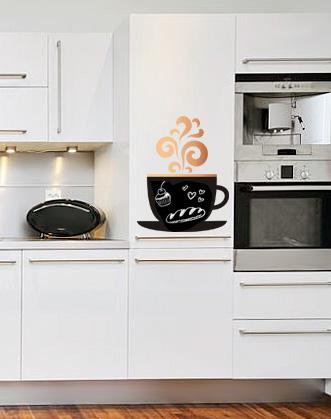 фото наклейка на холожильник для мела чашка кофе аромат
