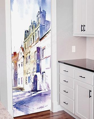 наклейка на дверь на кухне фото в голубых тонах