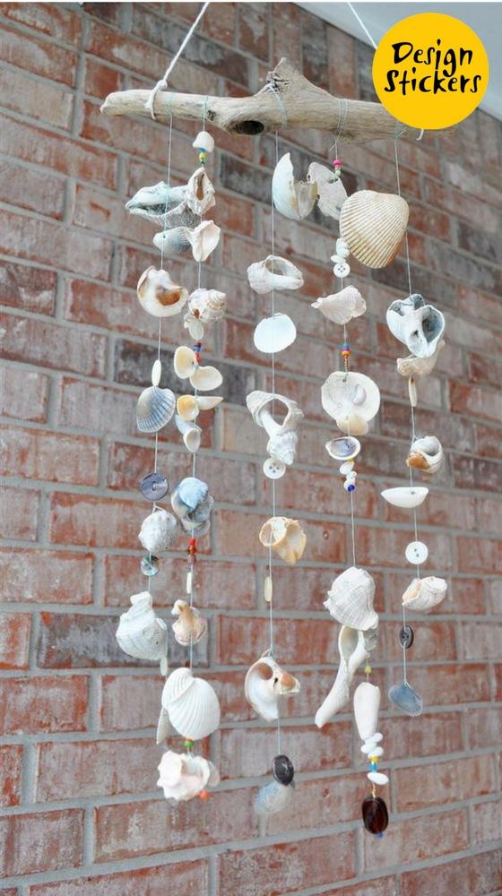 декор комнаты в морском стиле фото, гирлянда из ракушек фото