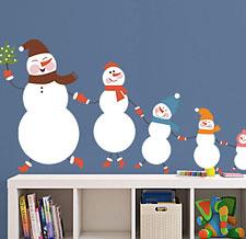 наклейка снеговики фото