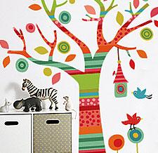 Виниловая наклейка Дерево в полоску фото