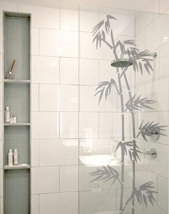 фото виниловая наклейка бамбук в ванной