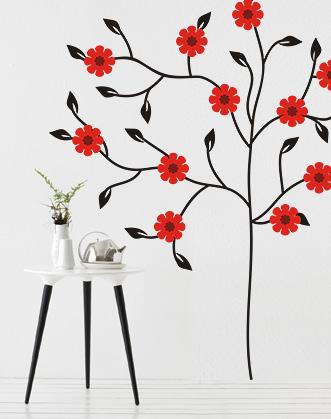 фото наклейка дерево с красными цветами