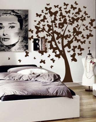 наклейка на стену дерево из бабочек фото