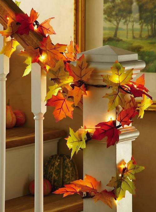 осенний декор фото, осенний декор из листьев фото