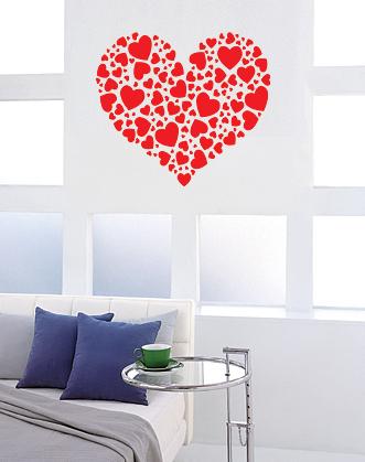 """наклейка на стену, мебель или зеркало """"Сердечное сердце"""". Наклейку можно разобрать на много отдельных сердечек!"""