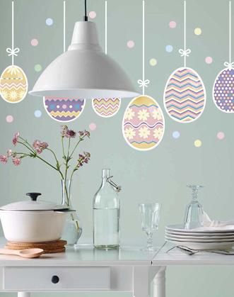 декор дома к пасхе яйца гирлянда