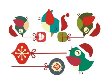 фото птички рождественские дизайн стикерс, декор к новому году DesignStickers недорого фото