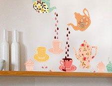 Наклейка для интерьера фото Чайный сервиз, интерьерная наклейка чайный сервиз фото, наклейки на стены сервиз фото, наклейка на кухню фото