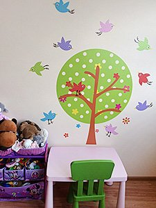 фото дерево с птичками наклейка детская  дизайн стикерс