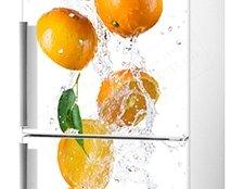 наклейка на холодильник апельсин фото, фото виниловая наклейка на холодильник апельсины, наклейка на холодильник апельсины в воде фотогра