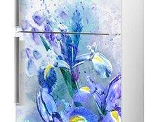 виниловая наклейка на холодильник ирисы фото, наклейка на холодильник с цветами ирисы фото, наклейка на холодильник в синих цветах фото