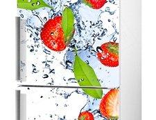 наклейка на холодильник клубника фото, виниловая наклейка клубника на холодильник фото
