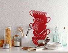 наклейка для стен кухни чашки фото, наклейка на обои фото чашки, наклейка в кухню чашки фото, наклейка для кухни фото чашки