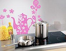 наклейка для кухни чайник фото, виниловая наклейка чайник фото, стикер чайник фото, декоративная наклейка чайник фото, наклейка на обои чай