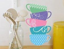 наклейки для кухни чашки фото, интерьерная наклейка чашки фото, виниловая наклейка чашки фото, посуда наклейка фото