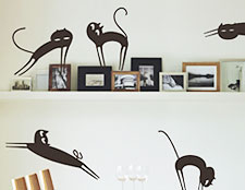 наклейки кошки фото, кошки наклейки на стены фото, наклейки на обои кошки фото, наклейки виниловые кошки фото
