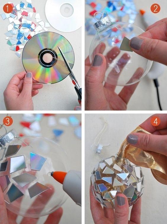 новгодний декор фото, игрушка на елку, шар на елку своими руками, фото, шар на елку из диска