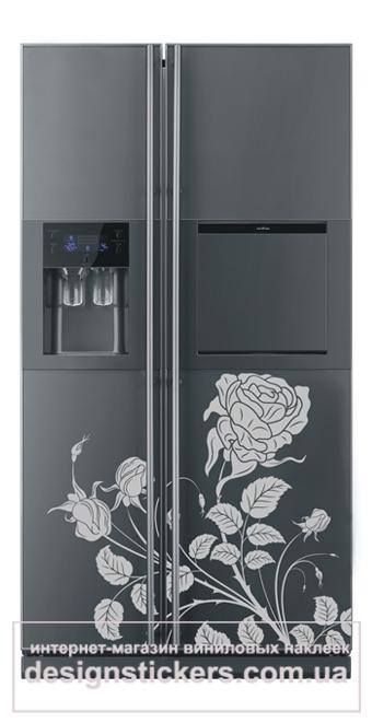 наклейки на холодильник, виниловые наклейки на холодильник, на холодильник цветок, роза на холодильник наклейка
