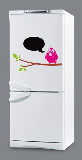 наклейки на холодильник, наклейки для холодильника, виниловые наклейки на холодильник, наклейка птица - секретарь, наклейки на холодильник для записей