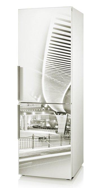виниловая наклейка на холодильник для декора кухни: ночной город