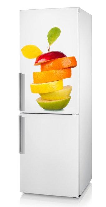 декор холодильника и кухни виниловой наклейкой: фрукты