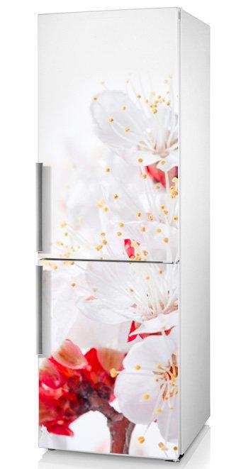 """Виниловая наклейка на дверь холодильника """"Цветы вишни"""" - идеальный выбор для кухни!"""