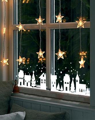 наклейка на окно, зимний город фото, новогодний декор