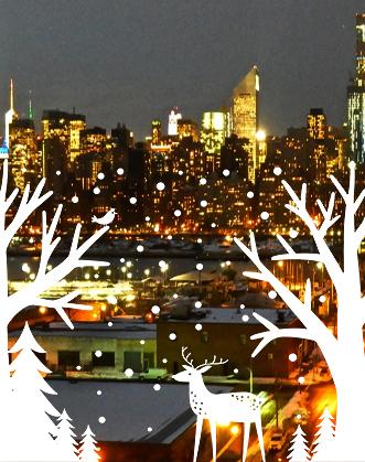 фото зимний лес, наклейка на окно, новогодний декор