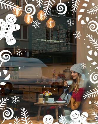 фото новогоднее украшение витрины, украшение магазина к новому году, фото новогодний декор витрины ресторана, новогодний декор кафе фото, designstickers витрины фото