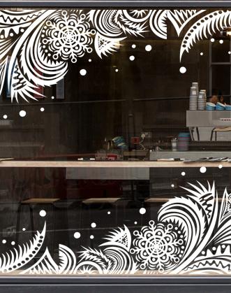 """Новогоднее украшение витрины наклейка на окно """"Морозный узор""""."""