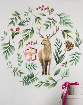 """Новогодние наклейки на стену """"Рождественский декор"""""""