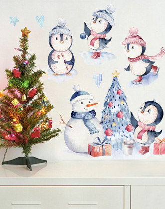 """Набор новогодних наклеек """"Акварельные пингвины"""""""
